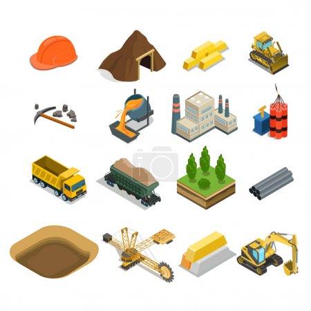 Gold ikony wydobycia węgla i minerałów