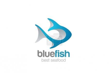 Fish Logo 3D abstract design vector template