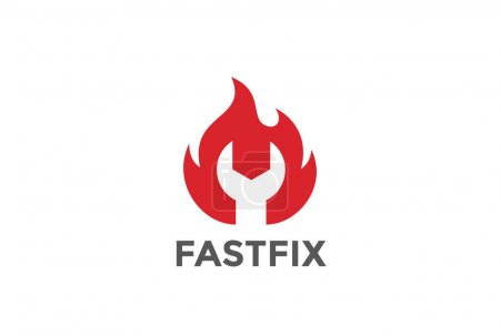 Wrench in Fire Flame Logo design vector template Negative space