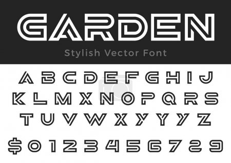 Creative Design vector linear Font for Title, Head...