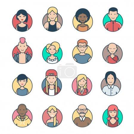 Illustration pour Personnages linéaires plats Avatar de profil, Casual et hipster élégants visages masculins féminins icône vectoriel ensemble d'illustration. Communication en ligne, concept de réseaux sociaux . - image libre de droit