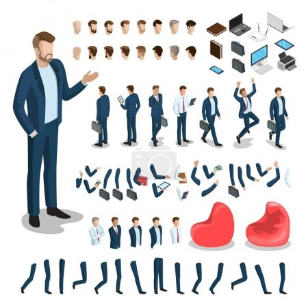 Illustration for Flat style isometric body parts of man vector illustration set. Male business character constructor: hair style, clothes, accessories and gadgets, legs, arms moves. Creation animated characters 3d isometry template - Royalty Free Image