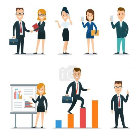 Photo for Flat style business people characters in workplace vector icon set collection. Male and female persons in strict elegant office clothes. Businessmen and businesswomen at work place - Royalty Free Image