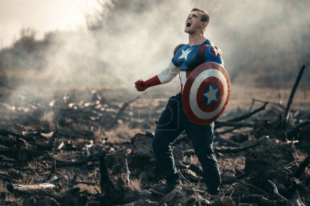 Photo for Man dressed as Captain America. Captain America cosplay costume - Royalty Free Image