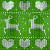 Green Knitted deers sweater in Norwegian style Knitted Scandinavian ornament Vector seamless Christmas sweater pattern