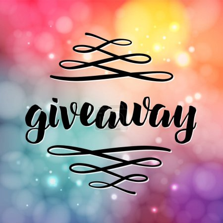 Giveaway lettering for promotion in social media with swashes on vector blurred background. Free gift raffle, win a freebies