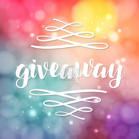 Giveaway lettering for promotion in social media with swashes on blurred background with lights. Free gift raffle, win a freebies