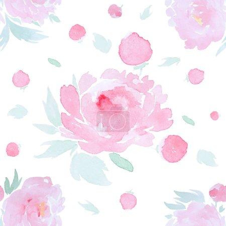 Foto de Modelo sin costuras con flores rosadas de color acuoso dibujadas a mano de peonía sobre fondo blanco aislado. - Imagen libre de derechos