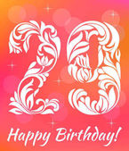 Bright Greeting card Template Celebrating 29 years birthday Decorative Font with swirls and floral elements