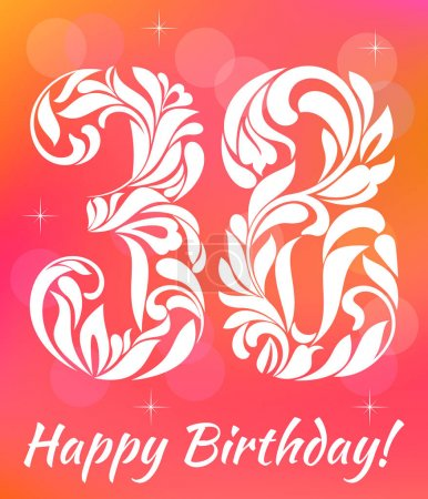 Bright Greeting card Template. Celebrating 38 years birthday. Decorative Font with swirls and floral elements.