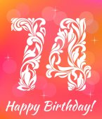 Bright Greeting card Template Celebrating 74 years birthday Decorative Font with swirls and floral elements