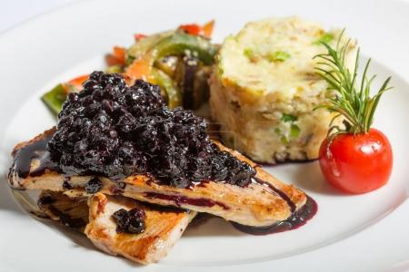Roast chicken breast with risotto