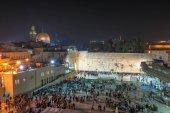 Western wall or Wailing wall at night in Jerusalem Israel