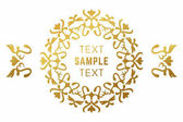 Golden luxurious logo frame Golden on white background Vector illustration Decorative elements for business card invitation greeting card template
