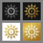 Set of floral logo frame and monogram Golden on white and black background Vector illustration Decorative elements for business card invitation greeting card template