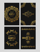 Set of floral logo frame and monogram Golden on black background Vector illustration Decorative elements for business card invitation greeting card template