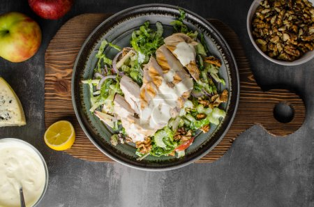 Photo for Waldorf salad with grilled chicken, delicious and simple recipe with blue cheese - Royalty Free Image