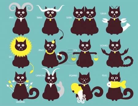 Illustration for Cat zodiac icons, vector flat design, astronomy illustration - Royalty Free Image