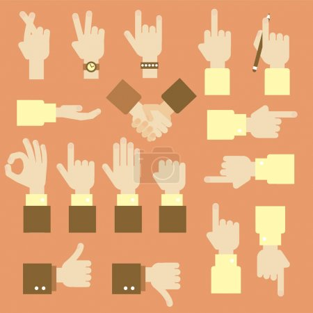 Hand flat vector design set with okay gesture