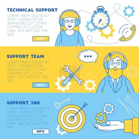 Illustration pour Support technique, équipe de support et support 24 heures bannières - image libre de droit