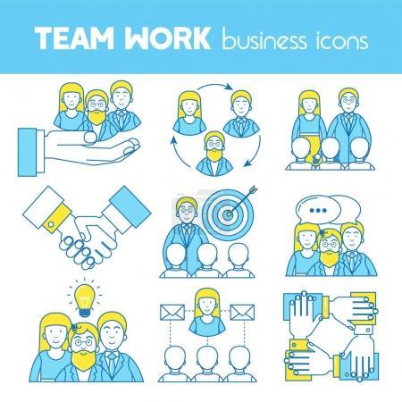 Teamwork, set of line icons