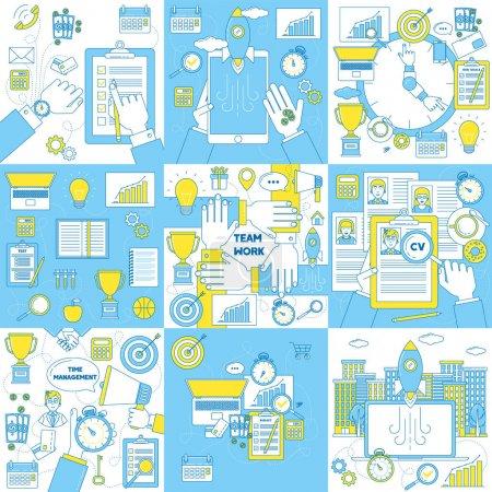 Illustration pour Finances, éducation, marketing, budgétisation, travail d'équipe, gestion du temps et lancement de start-up. Concept d'art linéaire . - image libre de droit