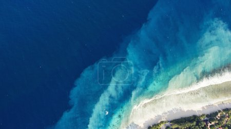 Top view aerial drone photo of Virgin Islands National Park with incredibly beautiful seashore. Velvety sandy beach and shocking blue water