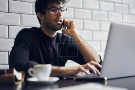 male using modern laptop computer