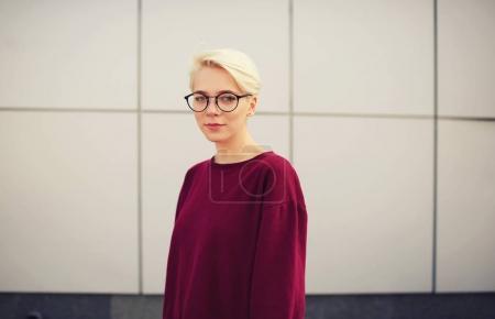 Female hipster in trendy glasses