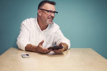 Marketing expert using digital devices
