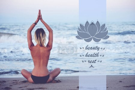 Photo for Back view of young woman practicing yoga on seashore with amazing sea horizon on background, woman seeking enlightenment through meditation, infographic design elements in yoga pose - Royalty Free Image