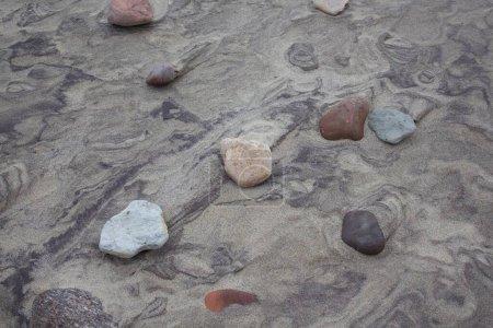 Photo pour Pierre blanche sur Baltique sable Curonian Spit Beau fond - image libre de droit