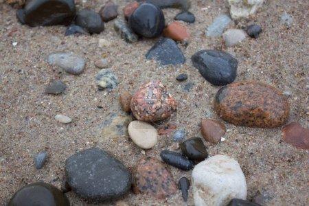 Photo pour Belle pierre colorée Gros plan sur Baltic Beach Curonian Spit - image libre de droit