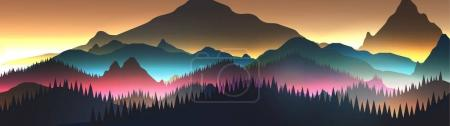 Abstract Sunrise Panorama Mountains with Lake and Pine Forest -