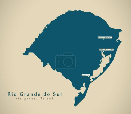 Modern Map - Rio Grande do Sul BR Brazil