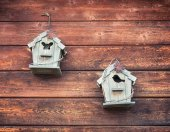 Vintage and wooden small birdhouses used as decoration
