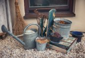 Vintage garden decoration with several utilities