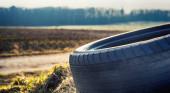 One tire closeup at the farmland