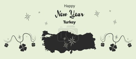 Happy New Year theme with map of Turkey