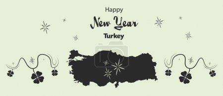 frohes neues Jahr Thema mit Karte der Türkei