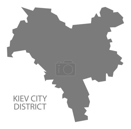 Kiev City District Ukraine Map grey
