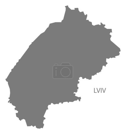 Lviv Ukraine Map grey
