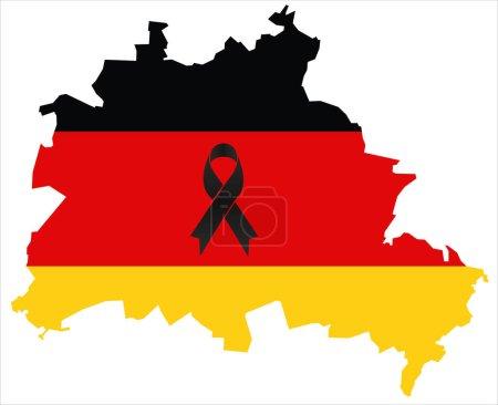 Berlin condolence map - black ribbon with german flag