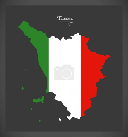 Toscana map with Italian national flag illustration