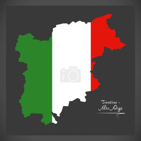 Trentino-Alto Adige map with Italian national flag illustration