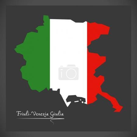Friuli-Venezia Giulia map with Italian national flag illustratio