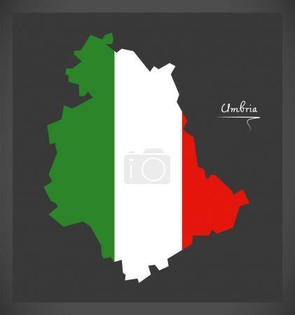 Umbrien-Karte mit Abbildung der italienischen Nationalflagge