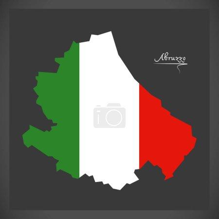 Karte der Abruzzen mit Abbildung der italienischen Nationalflagge
