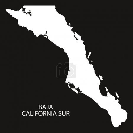 Illustration pour Baja California Sur Mexico Carte silhouette inversée noire - image libre de droit
