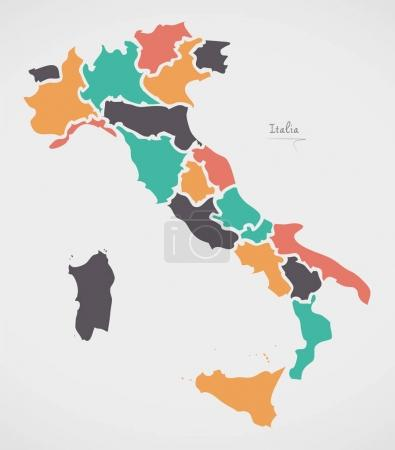 Italian Map with regions and modern round shapes